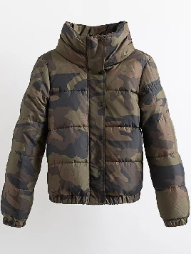 army-green-letter-print-high-collar-padded-camouflage-coat