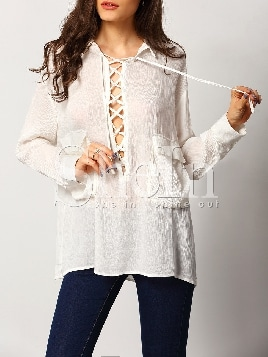 white-long-sleeve-lapel-lace-up-blouse